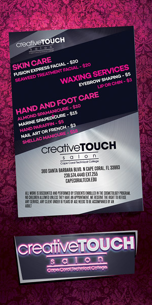 Creative Touch Salon services menu 2
